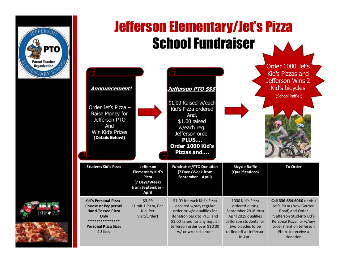 Jefferson Elementary/Jet's Pizza School Fundraiser